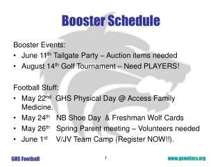 Booster Schedule