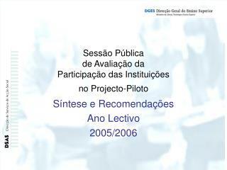 Síntese e Recomendações Ano Lectivo  2005/2006
