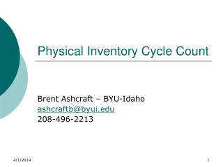 Physical Inventory Cycle Count