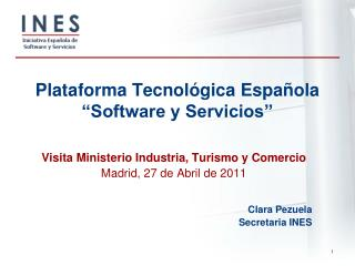 Plataforma Tecnol�gica Espa�ola  �Software y Servicios�