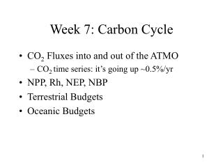 Week 7: Carbon Cycle