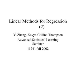 Linear Methods for Regression 2