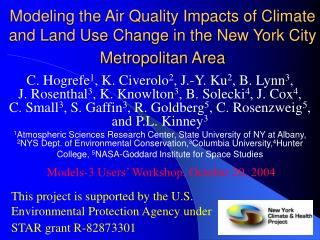 This project is supported by the U.S. Environmental Protection Agency under STAR grant R-82873301