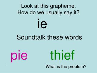 Look at this grapheme. How do we usually say it