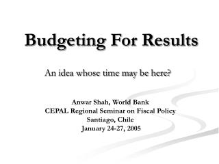 Budgeting For Results