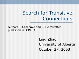 Search for Transitive Connections