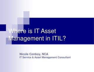 Where is IT Asset Management in ITIL?