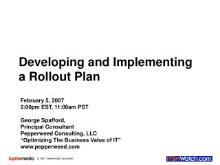 Developing and Implementing a Rollout Plan