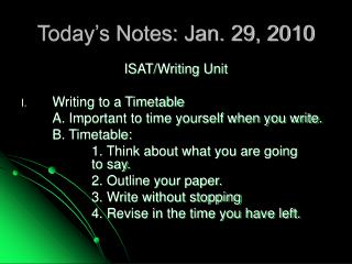 Today's Notes: Jan. 29, 2010