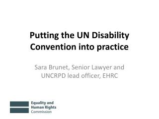 Putting the UN Disability Convention into practice