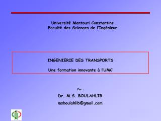 Universit� Mentouri Constantine Facult� des Sciences de l�Ing�nieur