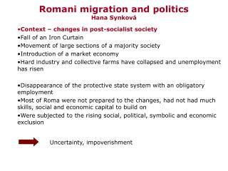 Romani migration and politics Hana Synková