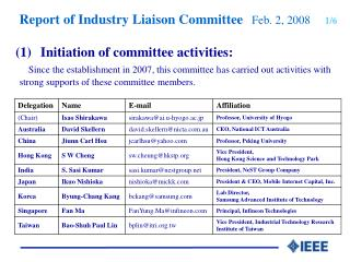 Report of  Industry Liaison Co mmittee 2/6