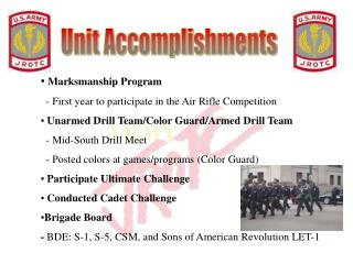 Marksmanship Program   - First year to participate in the Air Rifle Competition