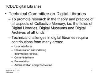 TCDL/Digital Libraries