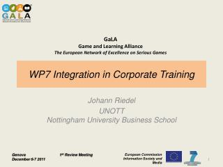 WP7 Integration in Corporate Training