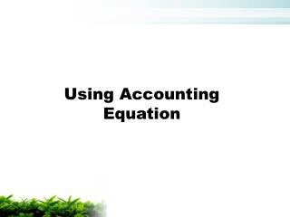 Using Accounting Equation