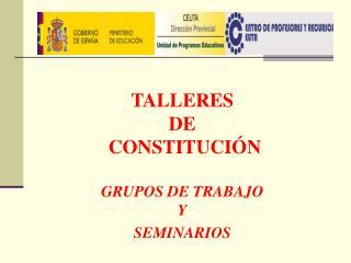 TALLERES  DE  CONSTITUCIÓN GRUPOS DE TRABAJO  Y SEMINARIOS