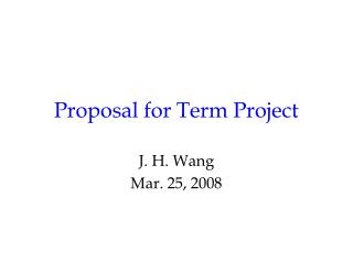 Proposal for Term Project