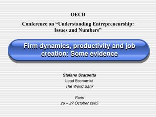 Firm dynamics, productivity and job creation: Some evidence