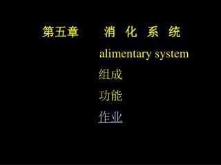 第五章        消   化   系   统  alimentary system 组成 功能 作业