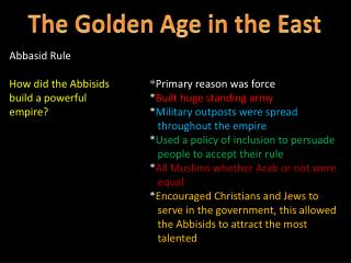 The Golden Age in the East