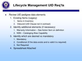 Lifecycle Management UID Req'ts