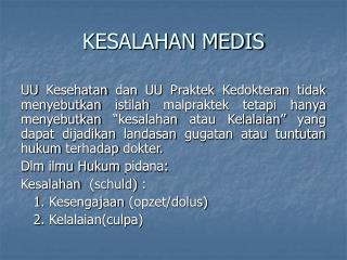 KESALAHAN MEDIS