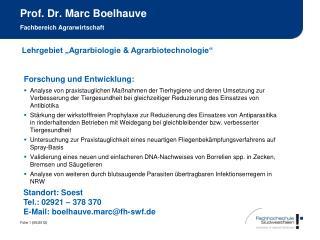 Prof. Dr. Marc Boelhauve Fachbereich Agrarwirtschaft