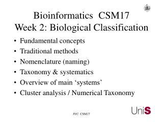 BioinformaticsCSM17 Week 2: Biological Classification