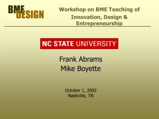 Frank Abrams Mike Boyette October 1, 2003 Nashville, TN