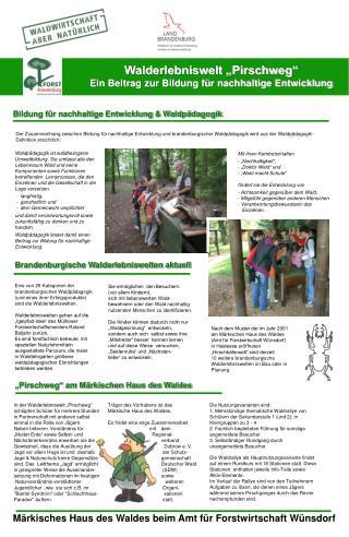 """Walderlebniswelt """"Pirschweg""""  Ein Beitrag zur Bildung für nachhaltige Entwicklung"""