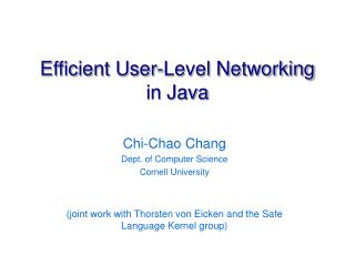 Efficient User-Level Networking in Java