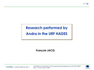 Research performed by Andra in the URF HADES