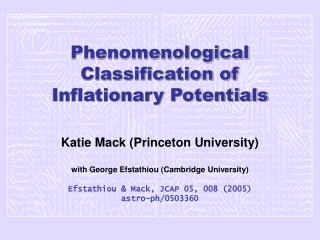 Phenomenological Classification of Inflationary Potentials