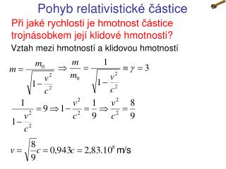 Pohyb relativistick é částice