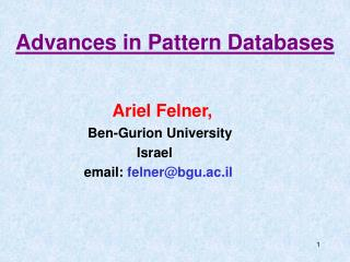 Advances in Pattern Databases
