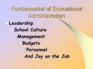 Fundamental of Educational Administration
