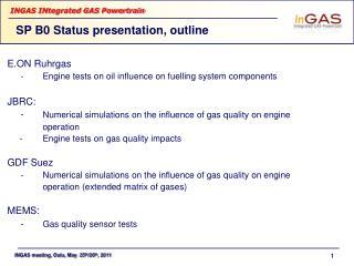 SP B0 Status presentation, outline