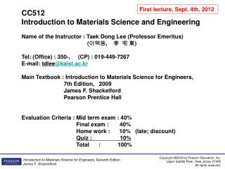 CC512  Introduction to Materials Science and Engineering