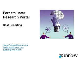 Forestcluster Research Portal Cost Reporting Henry.Palonen@inno-w Paula.jalo@inno-w