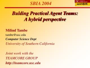 Bulding Practical Agent Teams:  A hybrid perspective