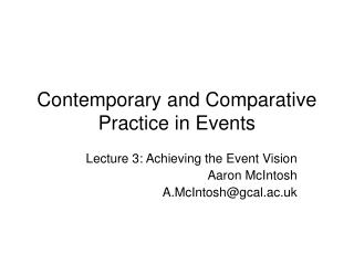 Contemporary and Comparative Practice in Events