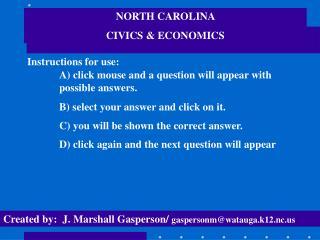 NORTH CAROLINA  CIVICS & ECONOMICS