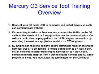 Mercury G3 Service Tool Training Overview