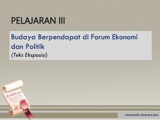 PELAJARAN III
