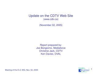 Meeting of the E+C WG, Nov. 02, 2005