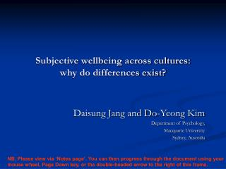 Subjective wellbeing across cultures:  why do differences exist?