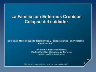 La Familia con Enfermos Crónicos Colapso del cuidador