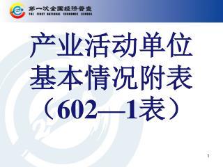 产业活动单位基本情况附表( 602—1 表)